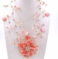 Liiji Уникальный Розовый В виде ракушки пресноводный жемчуг цветок Чокеры Обёрточная бумага Цепочки и ожерелья