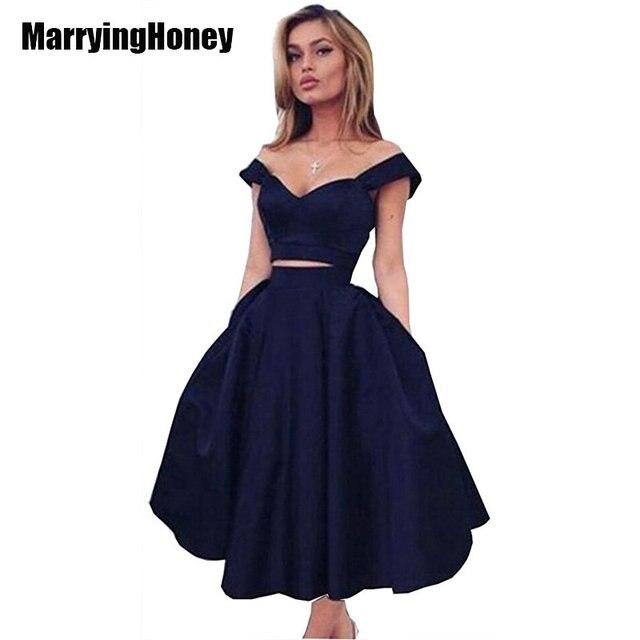 0c4600a9fe37 Two Piece Short Ball Prom Dresses 2017 V-neck Satin Knee Length Cocktail  Evening Gowns 2 Piece Dress Set Vestidos De Festa Party
