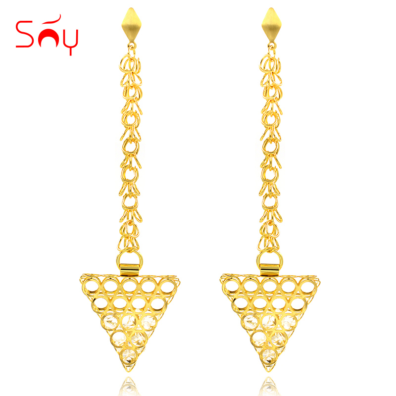 Earrings Sunny Jewelry Drop Dangle Earrings Fashion Jewelry 2019 For Women High Quality Zircon Triangle Hollow Out For Party Wedding Gift Cheap Sales