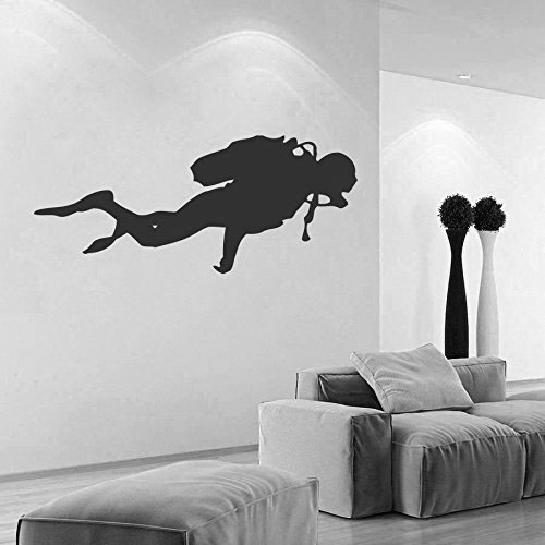 Diving Vinyl Wall Decal Sport Boy Scuba Diver Mural Art
