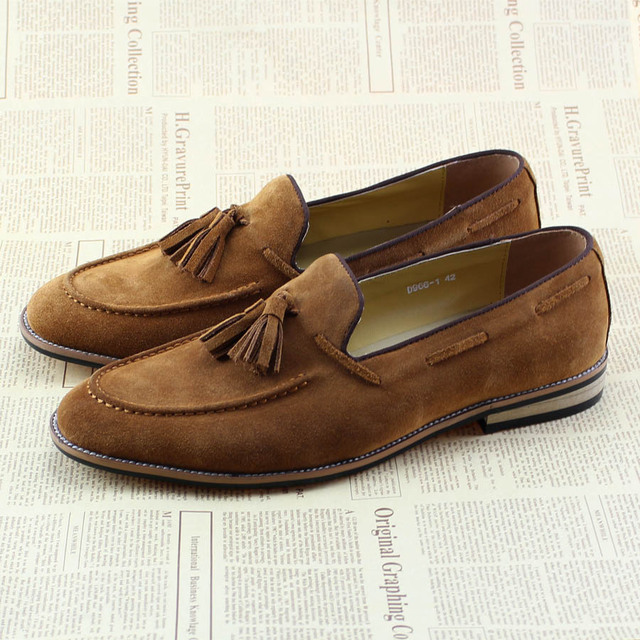 Men's Suede Leather Slip On Loafers Flats With Tassel