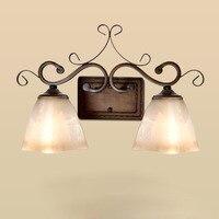 Европейский бра кантри гостиная фон бра спальня ночники ретро кованого железа три зеркало лампы