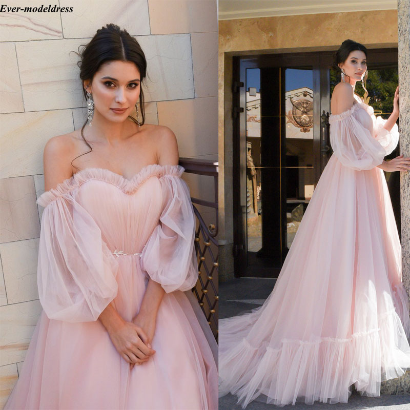 Classic Ivory Wedding Dresses: Pink Boho Wedding Dress Simple Long Sleeves Belt Ivory