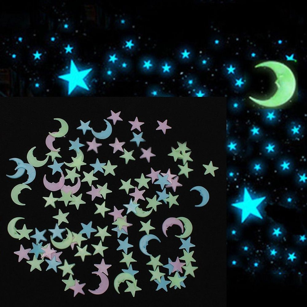 100Pcs Mixed colors Glow in the dark Stars Moon Wall