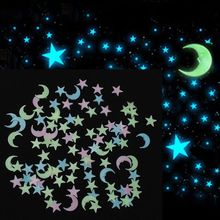 100Pcs Mixed colors Glow in the dark Stars Moon Wall Sticker 3D Luminous DIY Room Ceiling Mural Decor for Kids Baby Home Decal