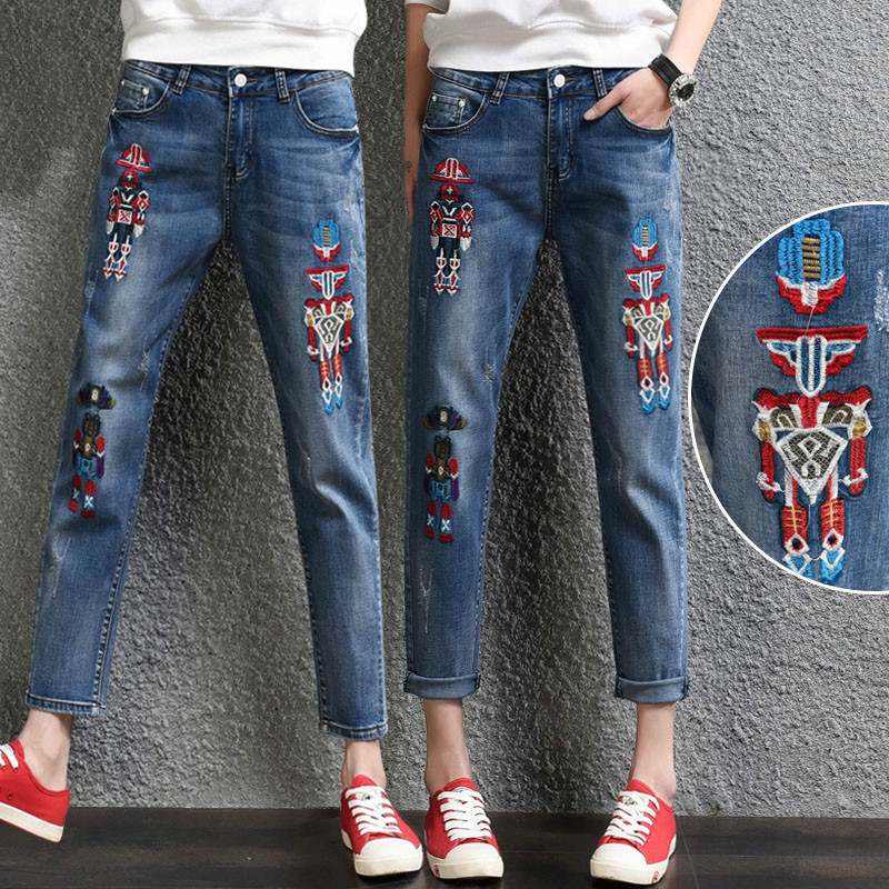 ФОТО The New fashion jeans embroidery Leisure denim harem pants cotton stretch jeans women