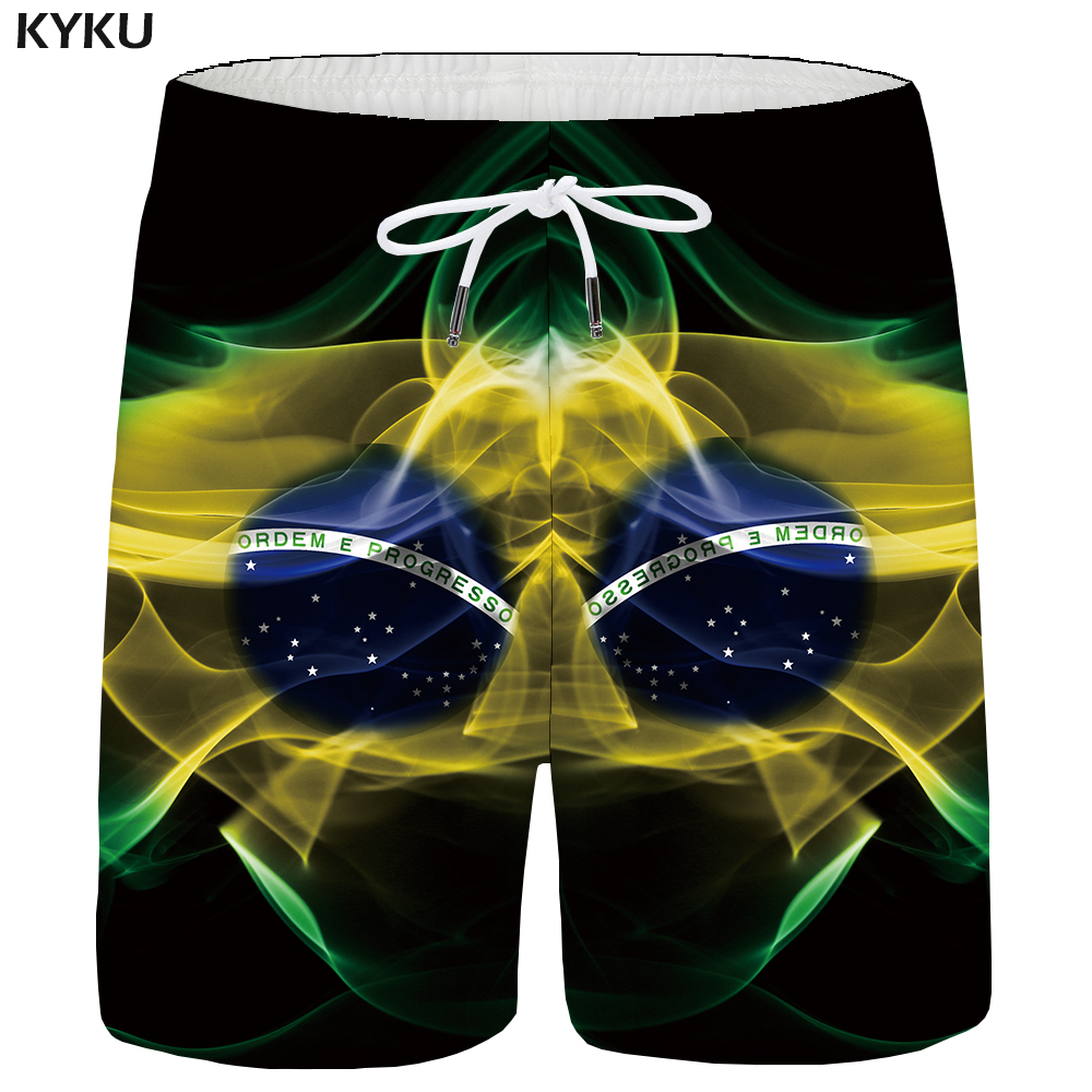 KYKU Brazil Shorts Men Flag Cargo Shorts Casual Ball Black 3d Printed Short Big Size Beach Mens Short Pants Summer 2018 New