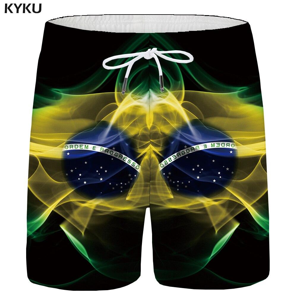 KYKU Brazil Shorts Men Flag Cargo Shorts Casual Ball Black 3d Printed Short Big Size Beach Mens Short Pants Summer 2018 New
