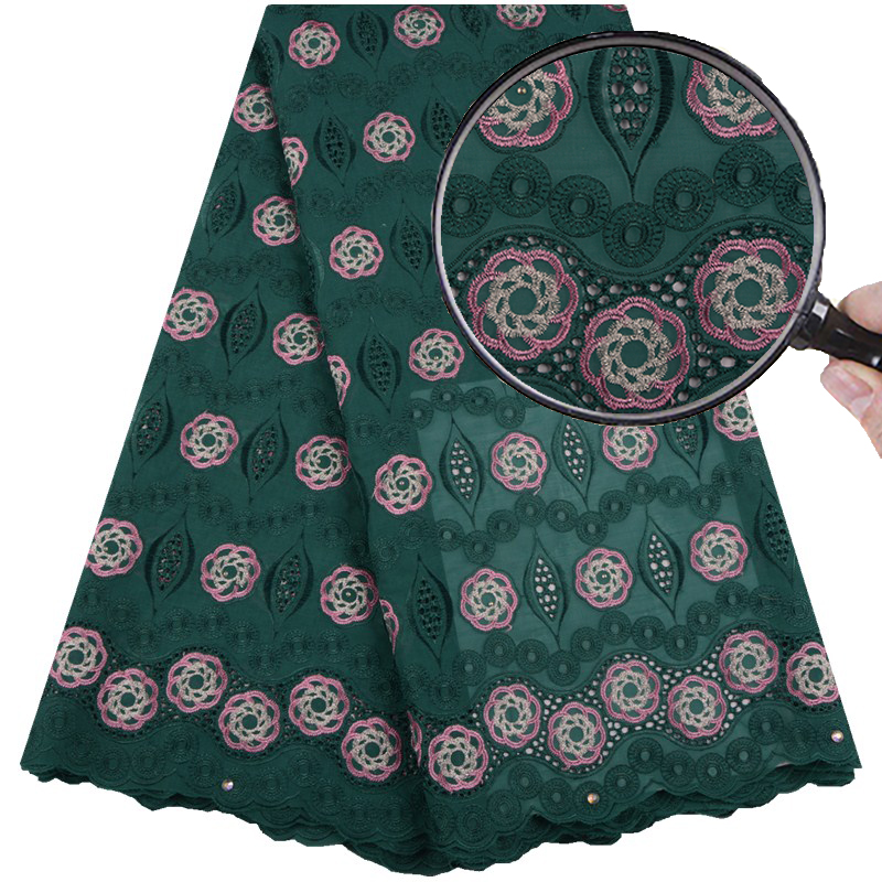 Green Color African Swiss Voile Lace Women Wedding Dress High Quality French Swiss Voile Laces In