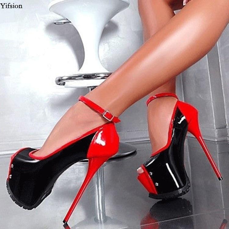 Yifsion Women Platform Pumps Sexy Thin High Heels Pumps Nice Peep Toe Charm Red Black Green