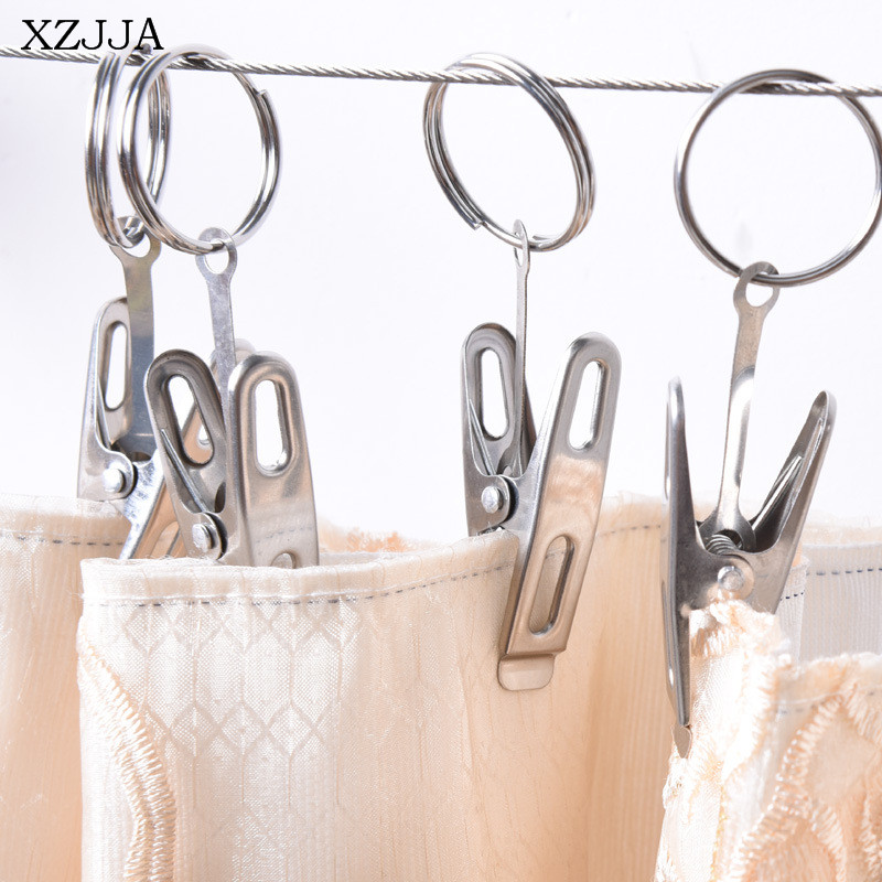 XZJJA 5pcs High Qaulity Stainless Steel Curtain Rod Clips Movable Shower Curtain Rings Clip Suspension Type Curtain Accessory