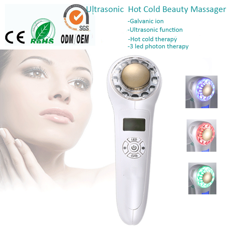 Free Shipping Galvanic Spa Ultrasonic Photon Hot Cold Therapy Facial Beauty Anti Aging Wrinkle Removal Skin Tighten Massager anti acne pigment removal photon led light therapy facial beauty salon skin care treatment massager machine