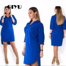 GIYU 6XL Side Split Shirt Dresses Women Half Sleeve Mini Dress Casual Loose Vestidos Solid Big Size robe femme
