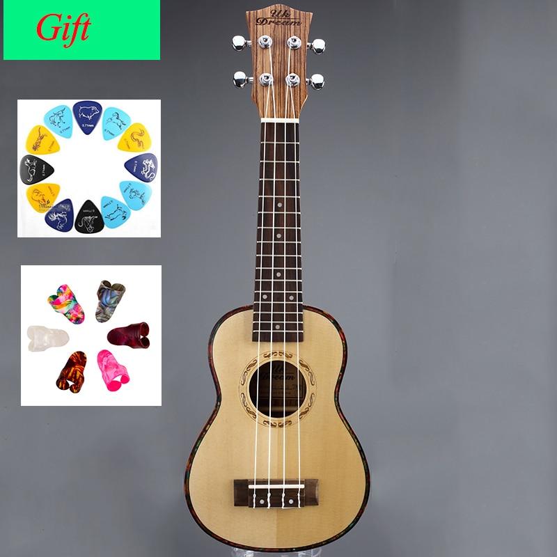 21 pouces en bois petite guitare ukulélé Instrument de musique joint bord frange brésil Picea Circum son trou forme professionnel US-52A