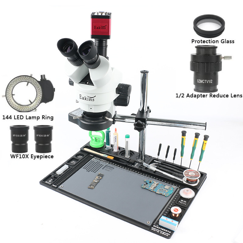 13MP HDMI VGA microscope camera 7 90X 1 2 lens adapter Simul focal Trinocular Stereo Microscope