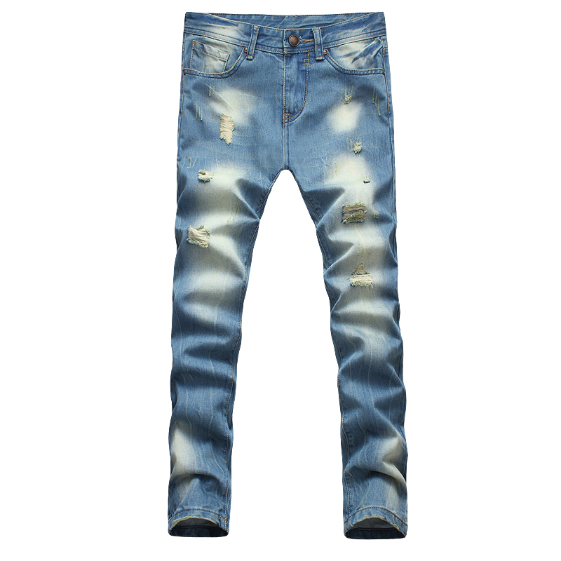 2015 slim water wash straight jeans men beggar hole pants for men plus size 38 40