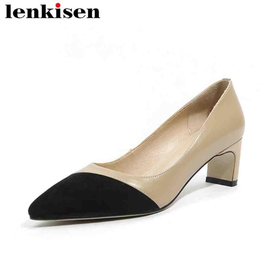 Lenkisen mixed colors handmade pointed toe slip on original design med heels genuine leather dressing shopping women pumps L19