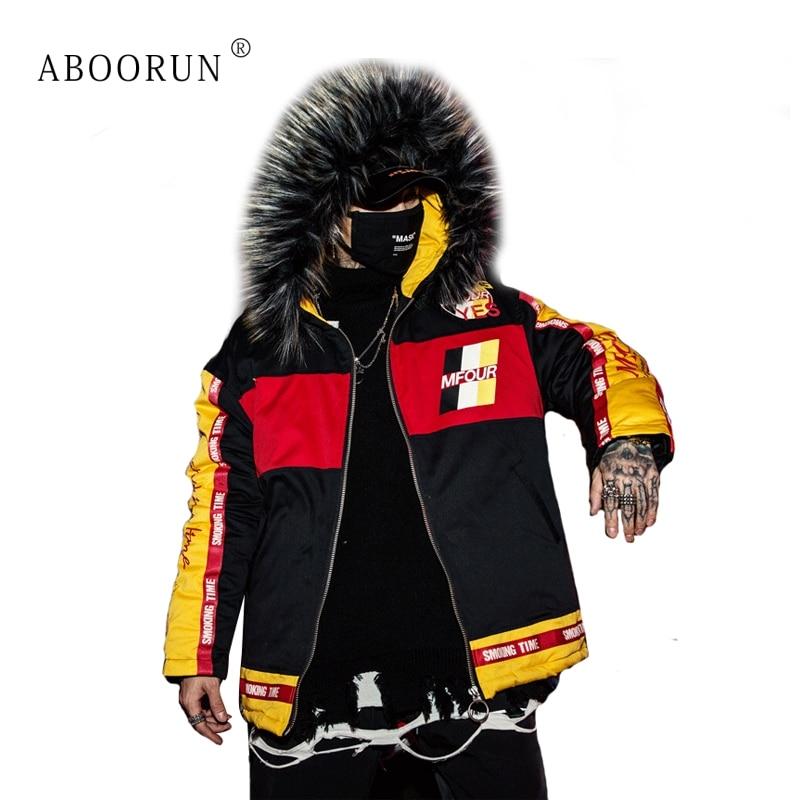 ABOORUN Hip Hop Men's Winter Jacket Big Fur Collar Thick Hooded Jacket Streetwear Long Coat   Parka   for Male x2003