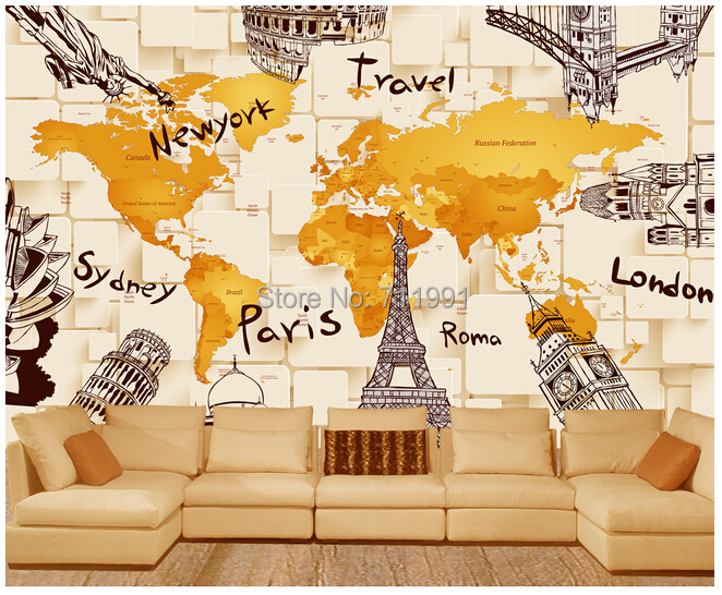Free shipping custom creative modern 3D architectural world map mural sofa bedroom TV backdrop wallpaper free shipping custom 3d mural classic retro modern sofa bedroom tv backdrop wallpaper zebra wallpaper