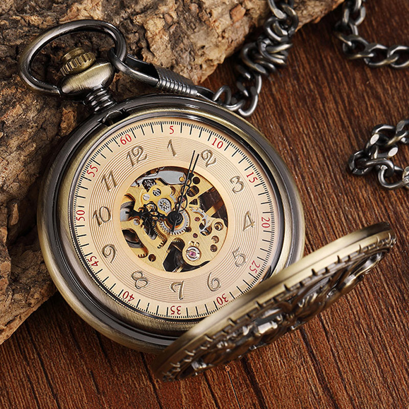 Do Vintage Bronze Oco Fob Colar Relógio