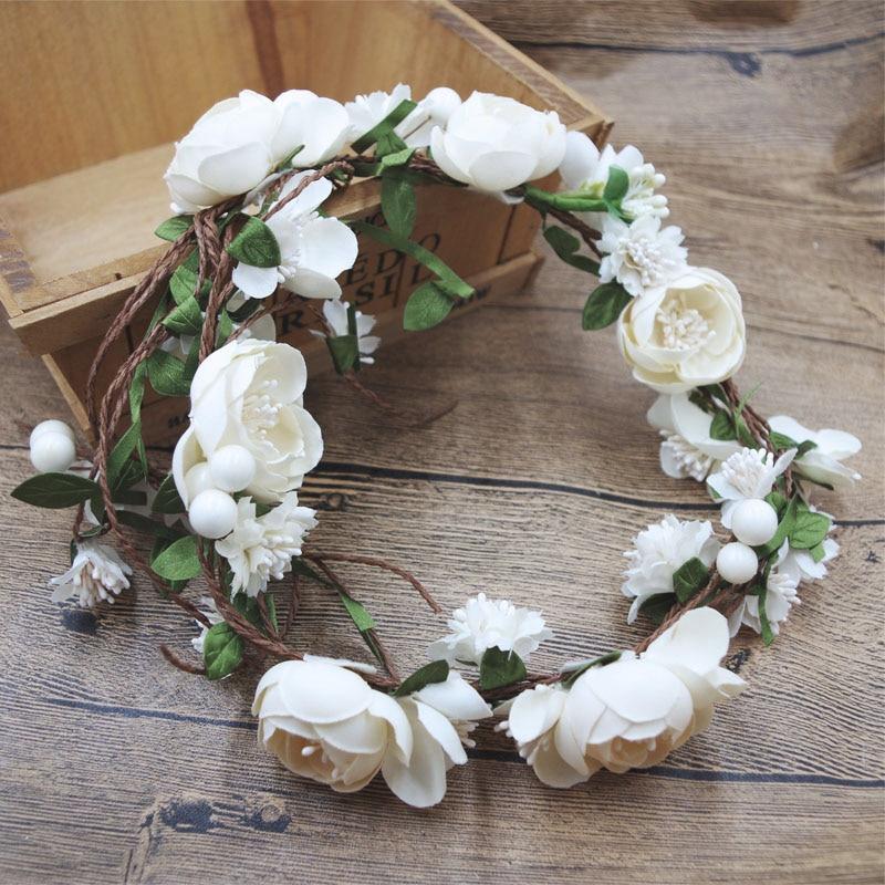 Virág koszorú lány fej rózsa virág korona menyasszonyi haj tartozékok esküvői fejpánt gyerek fél virág koszorúkat állítható P655