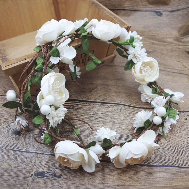 flower wreath girl head rose flower crown bridal hair accessories wedding headband kid party floral garlands