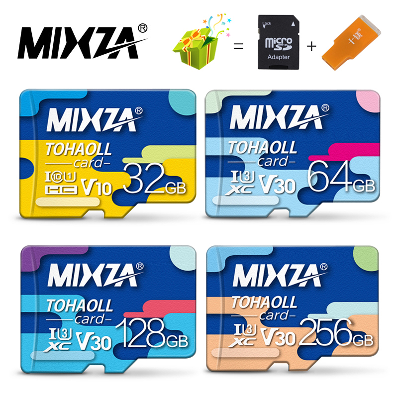 MIXZA tarjeta de memoria 256GB 128 GB 64 GB U3 80 MB/S tarjeta Micro sd de 32 GB Class10 UHS-1 tarjeta de memoria flash de memoria Microsd/TF tarjetas SD para Tablet