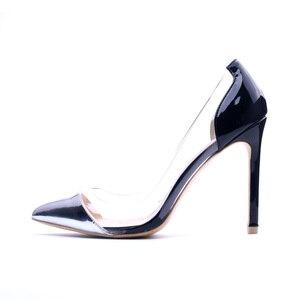 Image 4 - GENSHUO Silber Patent Leder frauen Schuhe High Heels Kleid Schuhe Sexy Transparent Klar PVC Damen Pumpen Für Frauen Stilettos