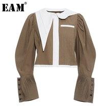 [EAM] Куртка контрастного цвета с рукавами-фонариками, новинка, плиссированное Женское пальто с отворотом и длинным рукавом, модное осенне-зимнее пальто 2019 JY851