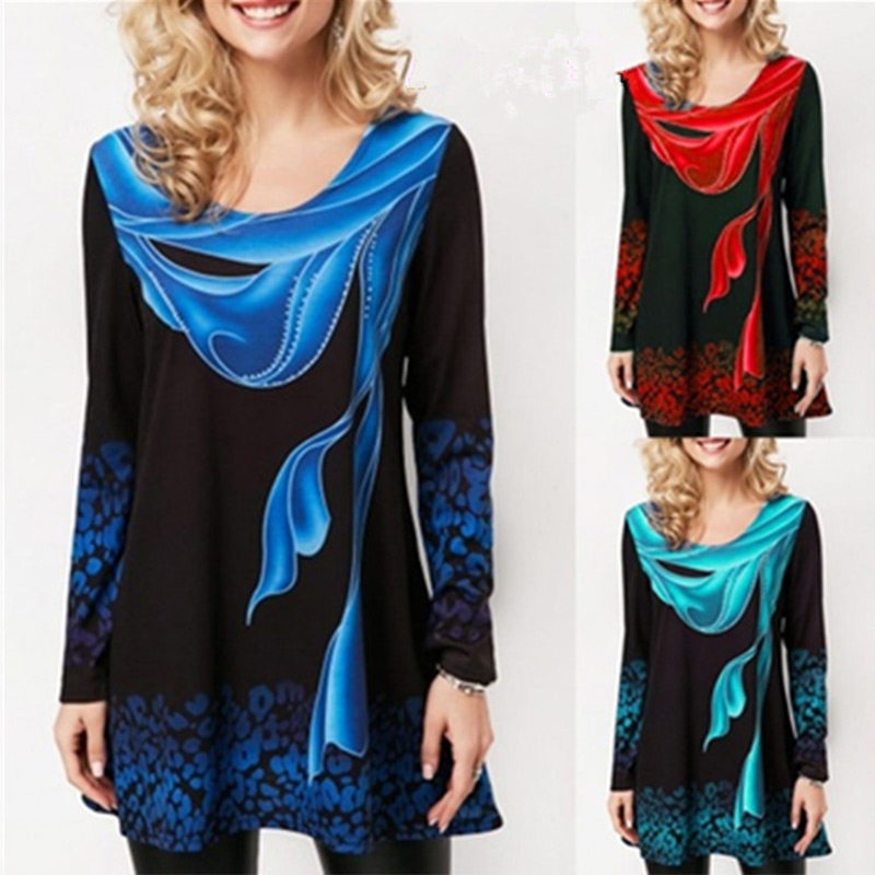Floral Print O-Neck Full Sleeve Woman's Shirt Size Plus 5XL Long Top Loose Befree Black Female Tops 2019 Fashion Clothing Ladies
