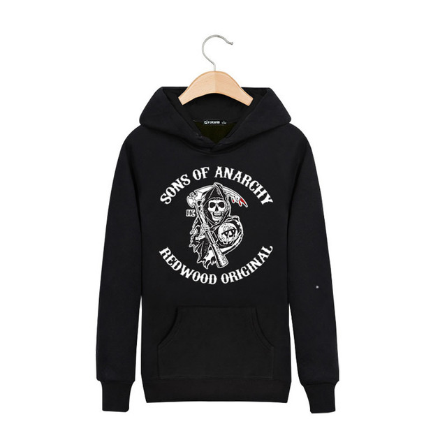 Hot Selling Sons of Anarchy Thick Hoodie SOA Skull Sweatshirt Fashion Comfort Cotton Hoodies ropa para perros Moleton Masculino