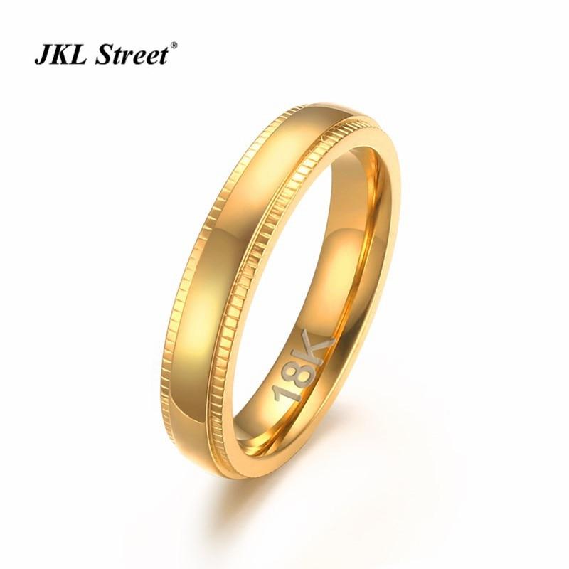 4MM Polishing Golden Stainless Steel Women Rings Embossing Teeth Line Elegant Graceful Girl Rings Size 6~11
