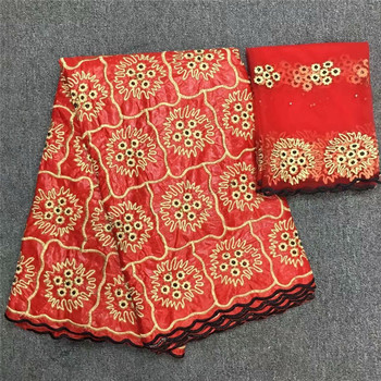 Nigerian Laces Fabric bazin riche getzner 5 yards bead cotton lace brode getzner fabric plus 2 yards lace fabric dress 14-14
