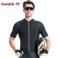SANTIC Летние черные Vélo MTB Для мужчин короткий рукав велосипед Джерси гоночный велосипед Джерси Горные задействуя носить рубашку Велоспорт