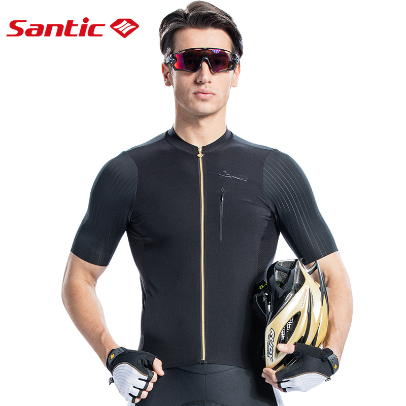 SANTIC Summer Black Cycling Jersey MTB Men Short Sleeve Bicycle Jersey Racing Bike Jersey Downhill Cycling Wear Cycling Shirt santic cycling men s downhill ridet shirt long jersey long sleeve white