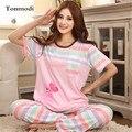 2016 New Pajamas Set For Women Summer Short Sleeve Ladies Pyjamas Trousers Cotton Sleepwear  Womens Pajamas Plus Size 3XL
