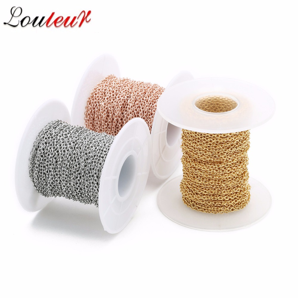 10yards/roll 1/1.5/2/2.5/3mm Silver Color/Gold/Rose Gold Men Stainless Steel Bulk Chains Women DIY Jewelry Making Materials