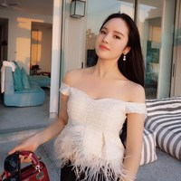Women's fashion brand high end luxury summer shoulder pearl ostrich hair tweed Feathers Short Tops off shoulder top