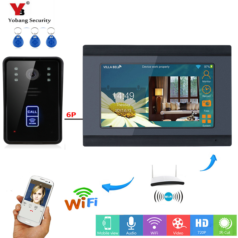 Yobang Security 7 Color LCD Wireless Wifi Video Doorbell Monitor Intercom RFID Unlock Remote APP Unlocking Recording SnapshotYobang Security 7 Color LCD Wireless Wifi Video Doorbell Monitor Intercom RFID Unlock Remote APP Unlocking Recording Snapshot
