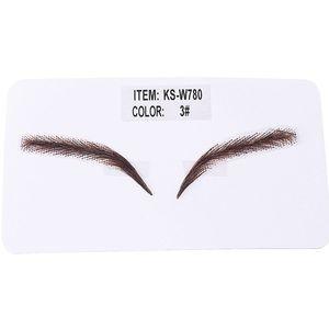 Image 4 - Handmade Human Hair False Eyebrows Lace Base For Women For Party Wedding Cosplay Star Fake Eyebrow Synthetic Eyebrows