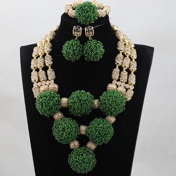 New Design African Wedding Bridal Magnificent Green Crystal Sets Nigerian Women Beads Necklace Jewelry Set Free Shipping ABH275