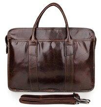 Men's Bags Genuine Leather Handbags Vintage Men Briefcases Natural Cow Leather Shoulder Bag Male Business Messenger Bags J7321