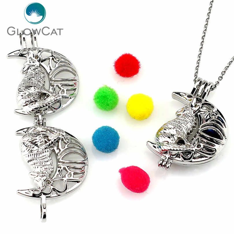 K1165 Silver Alloy Wolf Moon Pearl Cage Pendant Chain Aroma Essential Oil Diffuser Locket Necklace