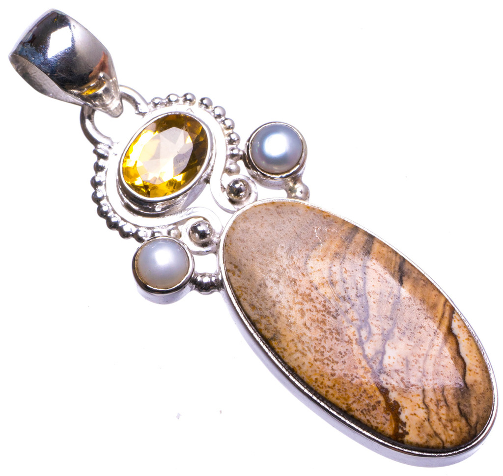 цена на Natural Picture Jasper,Citrine and River Pearl Handmade Unique 925 Sterling Silver Pendant 2