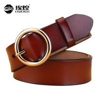 3 4CM Width Women S Cowskin Genuine Leather Belts For Women Simple Thick Round Buckle Female