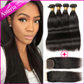 Peruvian Virgin Hair with Closure 4 Bundles with Closure Human Hair with Closure Straight Peruvian Virgin Hair with Closure