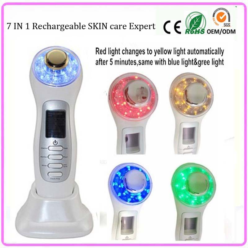 ФОТО 3mhz Ultrasound Galvanic Facial Pores Cleanser Cleaning Face Lifting Skin Tightening Lightening Beauty Massager Machine Home Use