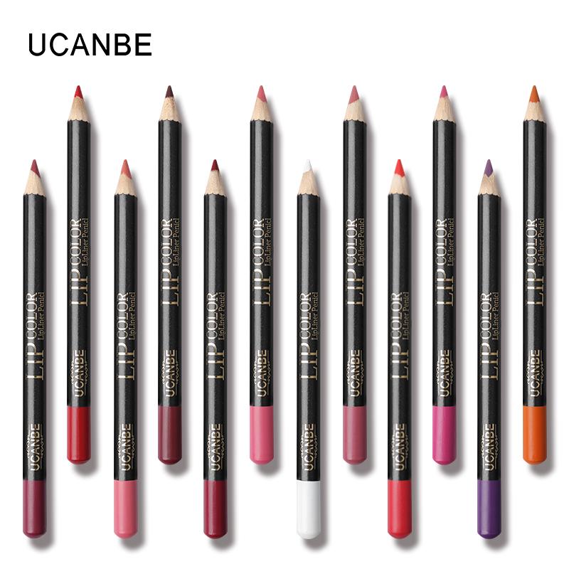 UCANBE 12pcs/Set Multi-Color Ultra Matte Lip Liner Pencil Rouge Waterproof Wooden Lip Pen Makeup Lasting Velvet Shape Lips Liner 9
