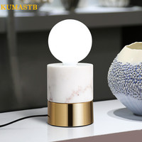 Nordic Marbe Metal Base Table Lamp Modern Minimalist Study Desk Lamp Creative Round Glass Ball Shade Table Light for Bedroom