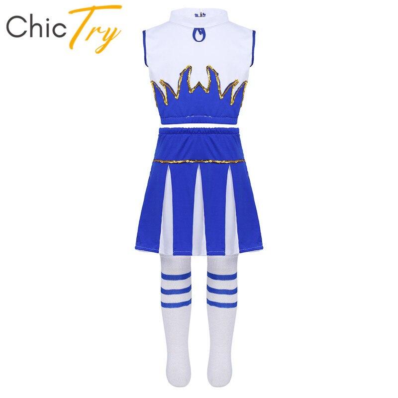 ChicTry Kids Teens Hip-hop Jazz Stage Dance Costumes Set Girls Crop Top With Skirt Children Street Dancing Cheerleader Costume